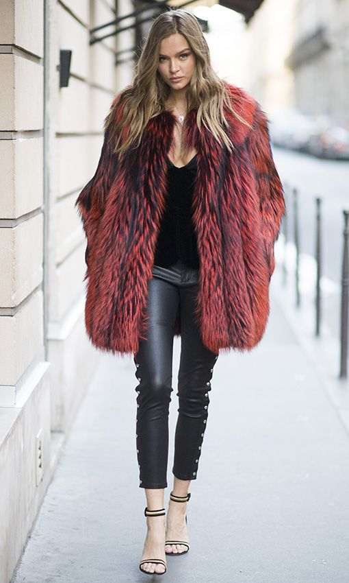 PARIS, FRANCE - NOVEMBER 29:  Josephine Skriver is seen wearing a fake fur coat before the Victorias Secret rehearsal in the streets of Paris on November 29, 2016 in Paris, France.  (Photo by Timur Emek/GC Images)