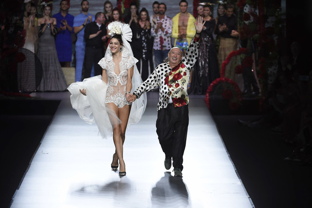 Designer Francis Montesinos wears at collection runway a creation fromFrancis Montesinos during Pasarela Cibeles - Mercedes-Benz Fashion Week Madrid 2015, in Madrid, on Friday 18th September, 2015.