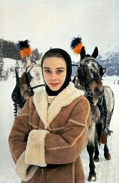 Audrey Hepburn en St Moritz, en 1958