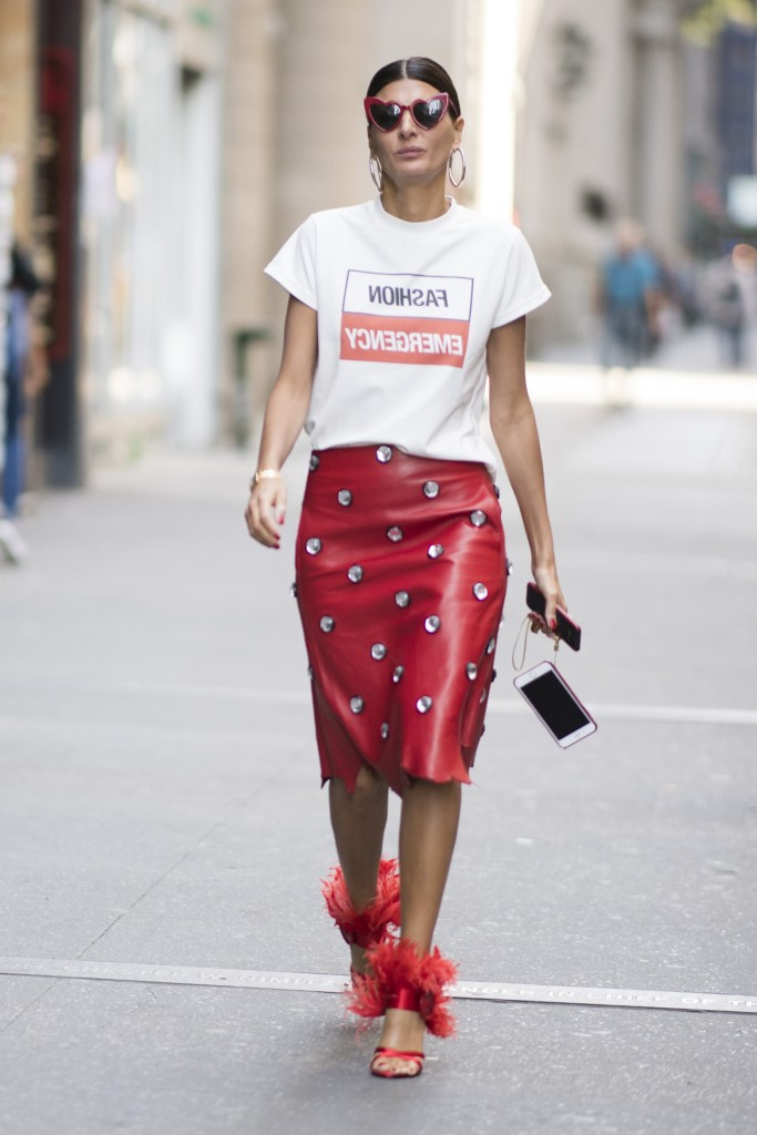 NEW YORK, NY - SEPTEMBER 10:  Giovanna Battaglia is wearing a red leather skirt seen in the streets of Manhattan during the New York Fashion Week on September 10, 2017 in New York City.  (Photo by Timur Emek/Getty Images)