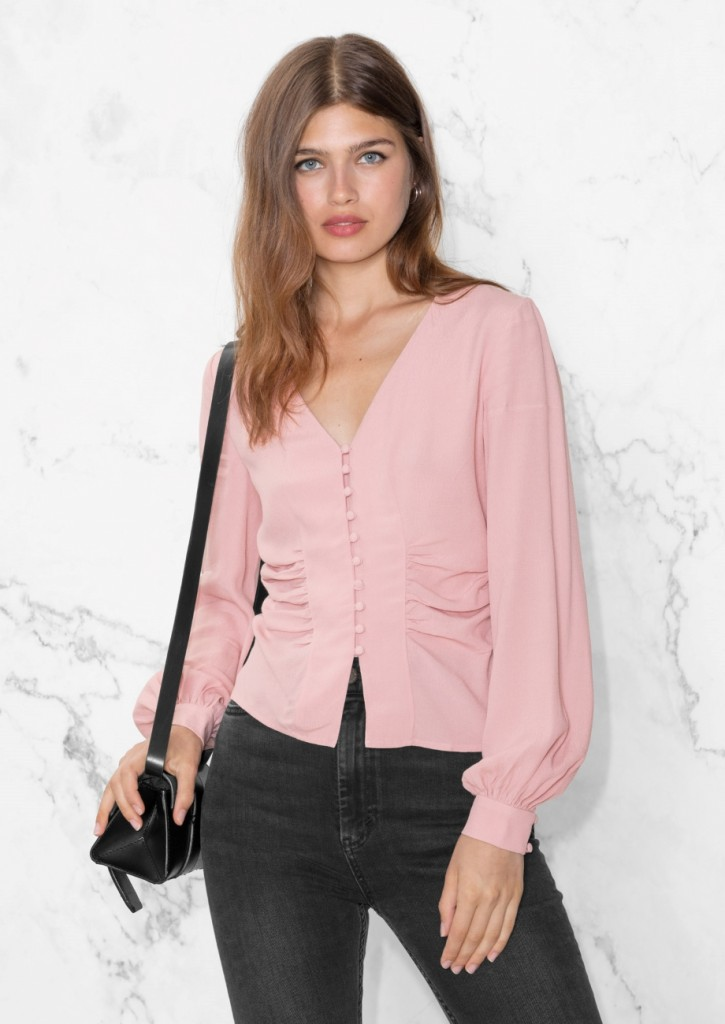 ruffled V neck blouse another stories